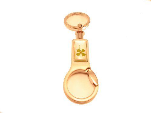 Lucky 4 Leaf Clover Bag Clip Key Ring