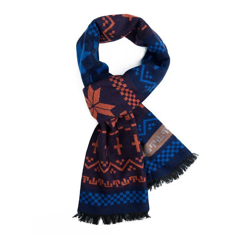 Christmas Scarf For Men Faux Cashmere Knitting Scarves Elk Print