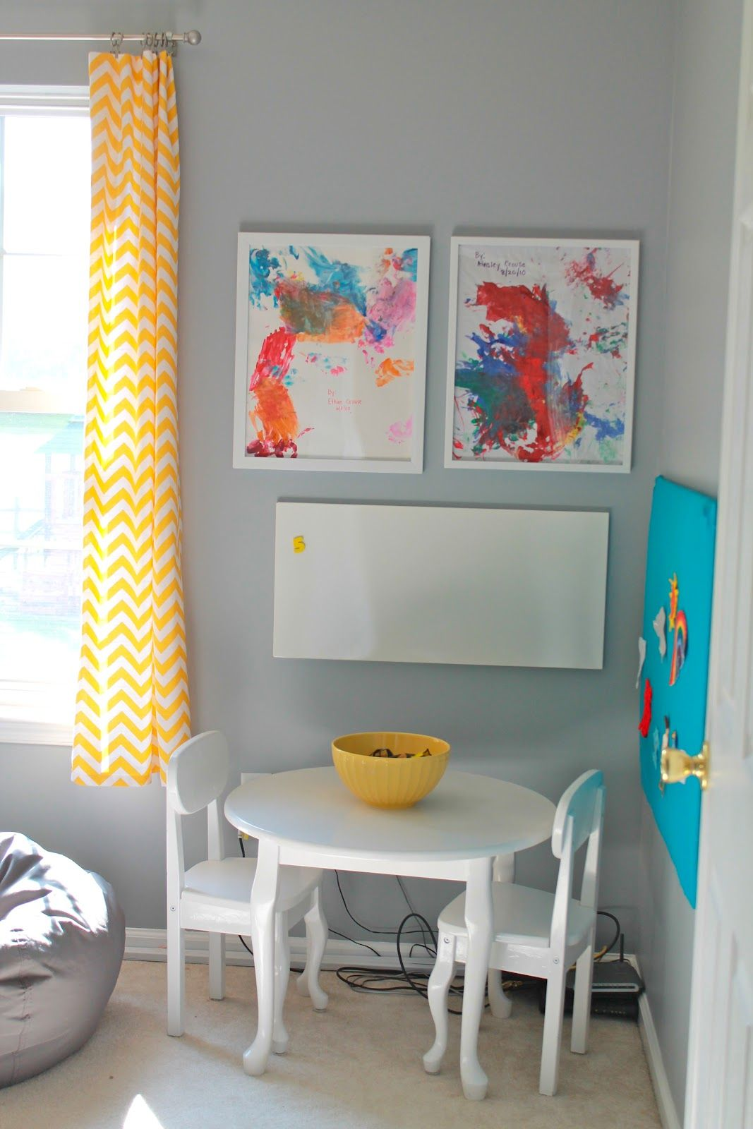 playroom office ideas. Love The Idea Of Framing Kids Artwork For Their Playroom! :) Welcome To Mouse House: Gray And Yellow Playroom: Reveal Playroom Office Ideas