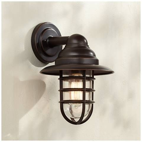 Marlowe 13 1 4 High Bronze Hooded Cage Outdoor Wall Light 8f957 Lamps Plus Barn Light Fixtures Industrial Wall Lights Outdoor Barn Lighting