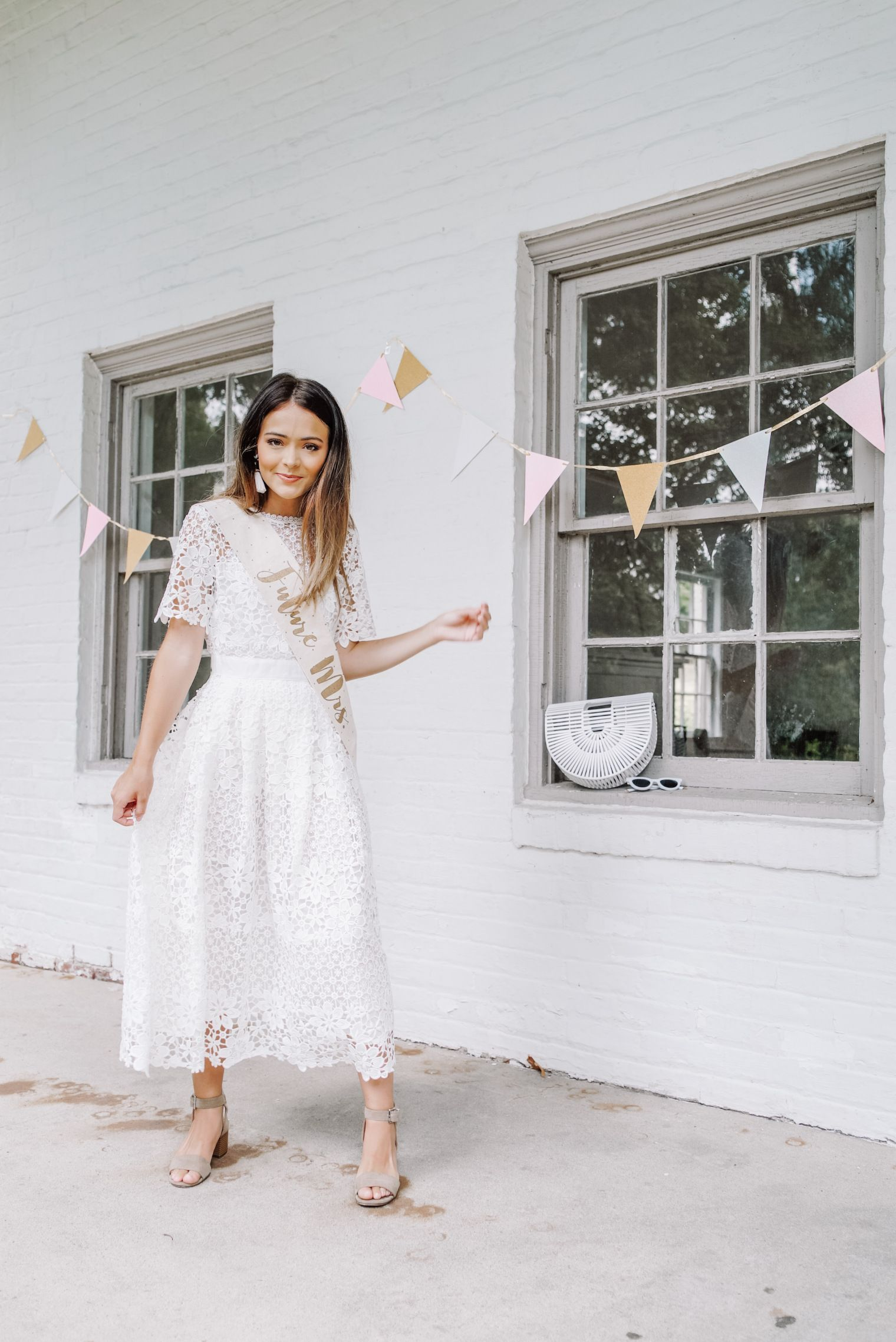 Bridal Looks Rehearsal Dinner Bridal Shower Engagement Photos Bachelorette Party And White Bridal Shower Dress Bridal Shower Dress Wedding Shower Outfit [ 2276 x 1520 Pixel ]