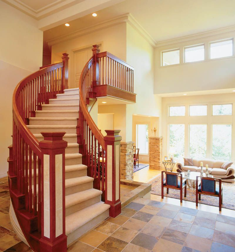 Tantalizing curved staircase plan 011s 0050 for Curved staircase floor plans
