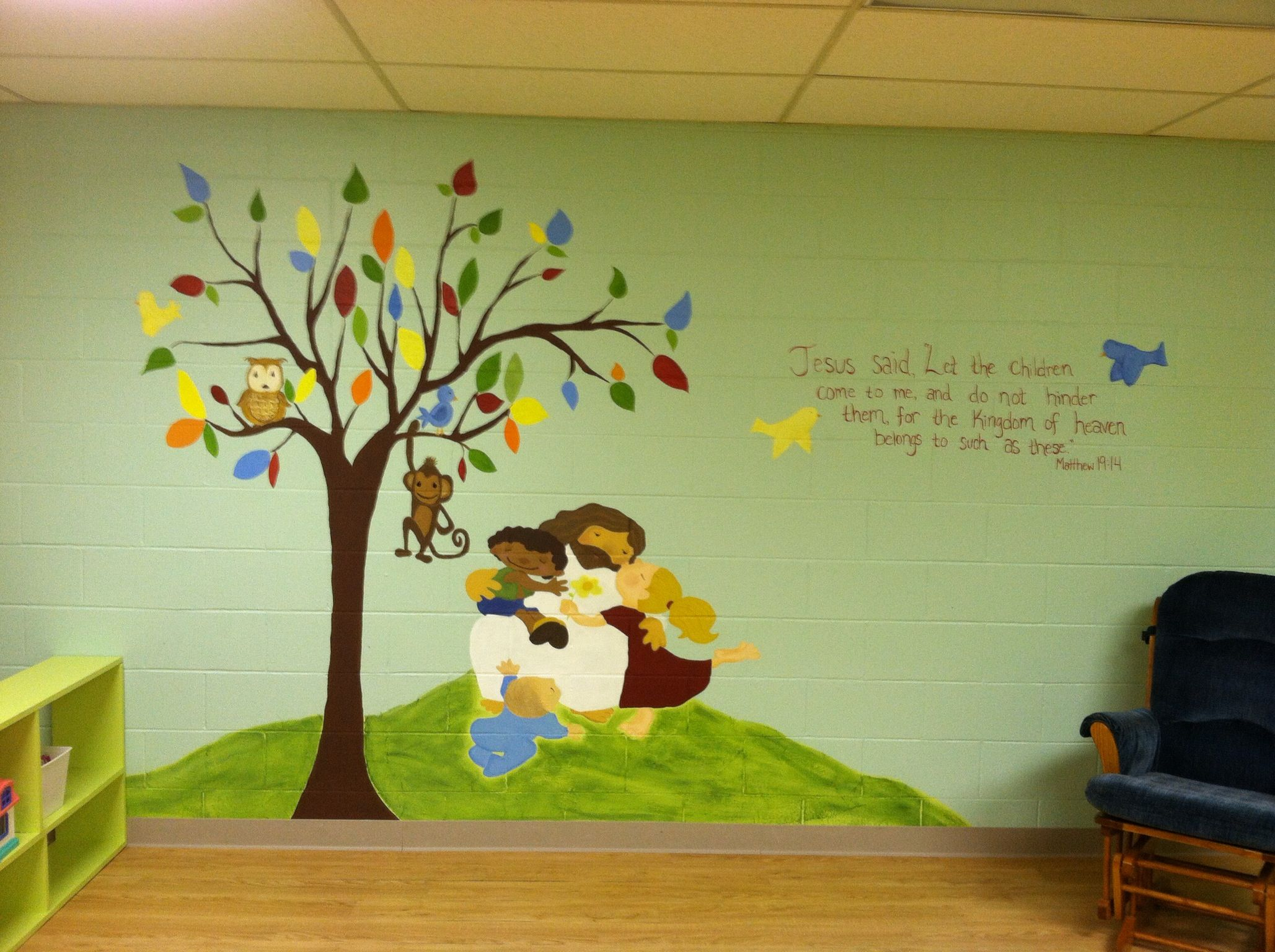 Church nursery mural | Sunday School Room Ideas ...