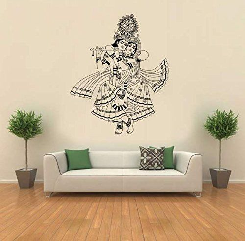 hoopoe decor lord krishna wall stickers and decals | puja rooms