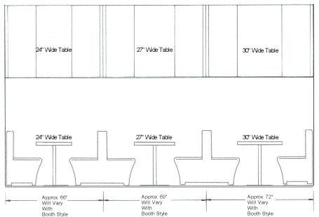 Table Dimensions · Banquette Seating · Single And Double Booth Spacing