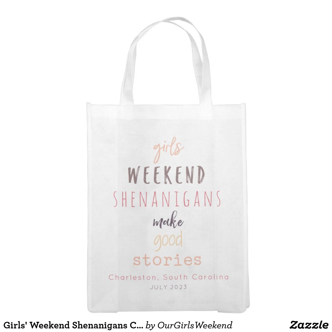 0fd2a0971a4 Girls  Weekend Shenanigans Customizable Reusable Grocery Bag These adorable  custom reusable Girls  Weekend gift or grocery bags say