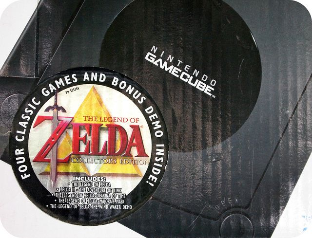 Box from the gamecube bundle released in 2003.    Included The Legend of Zelda: Collector's Edition game.       Video Game Systems  Information.