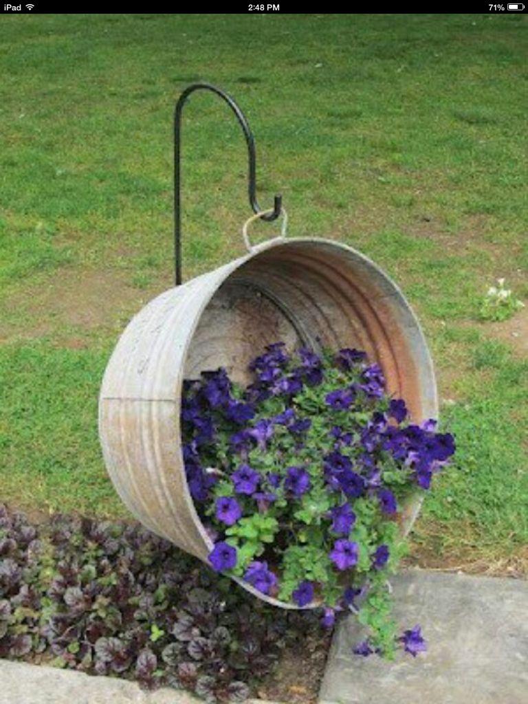 Old washtub planter idea