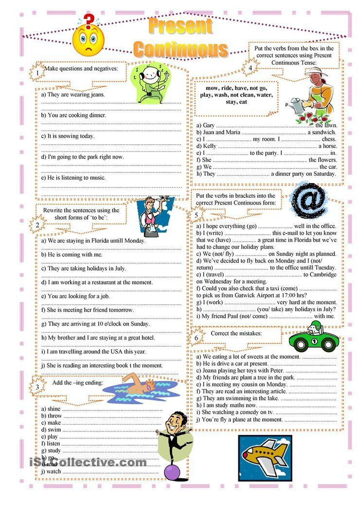 Present Continuous exercises Aprender inglês, Atividades