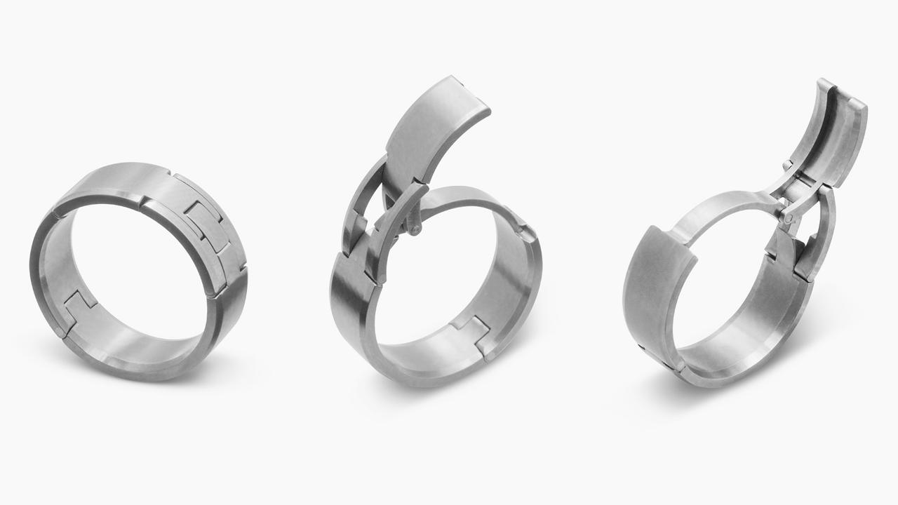 A Safer Wedding Band For Active Husbands Active Wedding Ring Mens Wedding Bands Hinged Wedding Ring