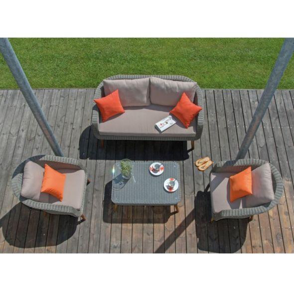 Salon de jardin bas Centura résine tressée : 2 fauteuils + 1 ...