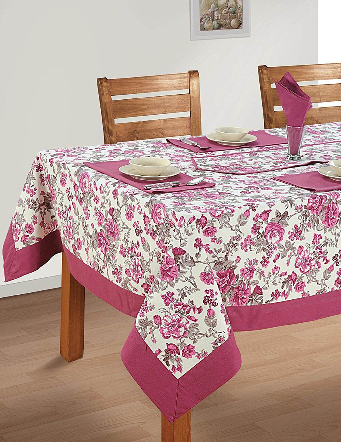 Colorful Multicolor Cotton Spring Floral Tablecloths Tables 60 X 102 Inches Deep Puce Border Click Image For M Dining Table Cloth Table Cloth Table Linens