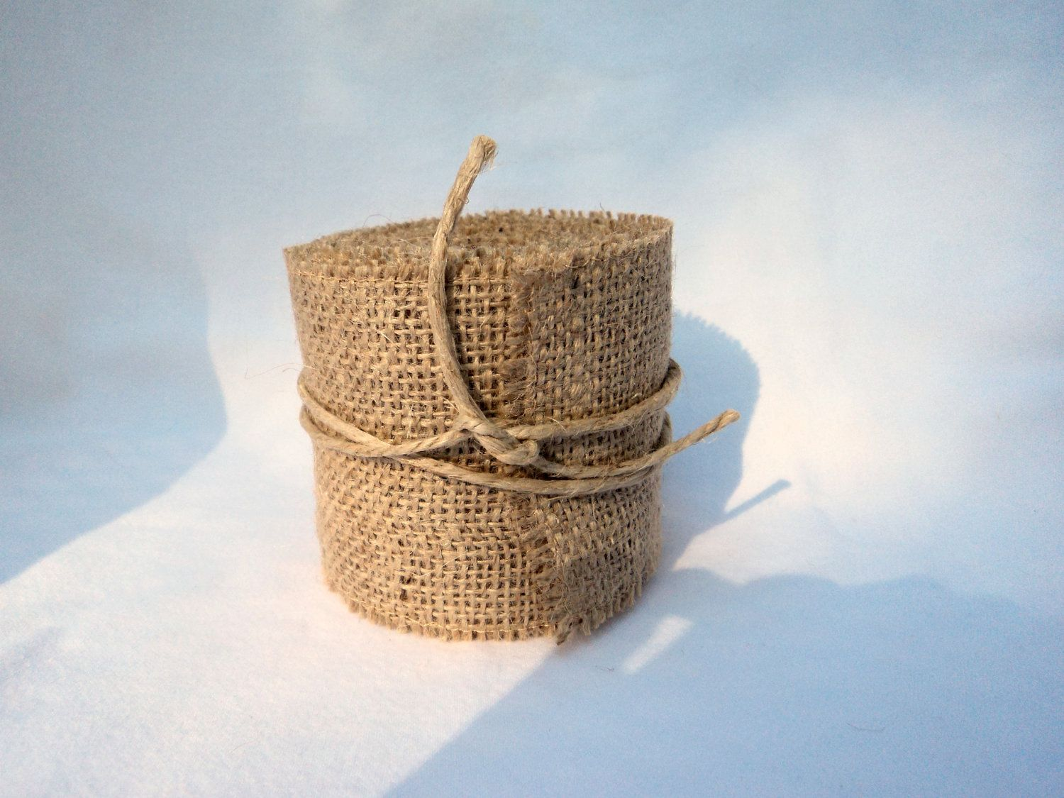 Burlap ribbon stitched 3 wide rustic wedding ribbon for Burlap ribbon on tree