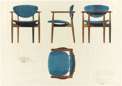 Finn Juhl, Designs For A Dining Chair, 1955. For Baker Furniture, Grand