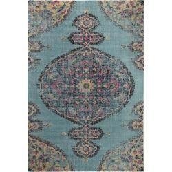Photo of benuta Flachgewebeteppich Ayla Multicolor / Türkis 240×300 cm – Vintage Teppich im Used-Look benuta