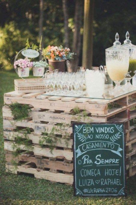 71 Elegant Outdoor Wedding Decor Ideas On A Budget Vis Wed Outdoor Wedding Decorations Pallet Wedding Wedding Drink Bar