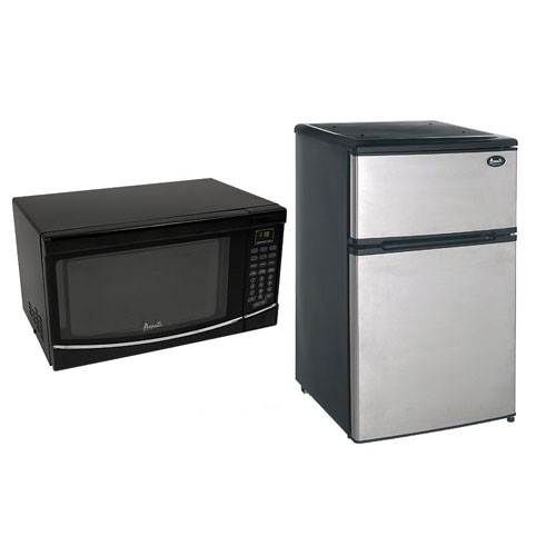 Avanti Stainless Steel Fridge and Black Microwave Bundle
