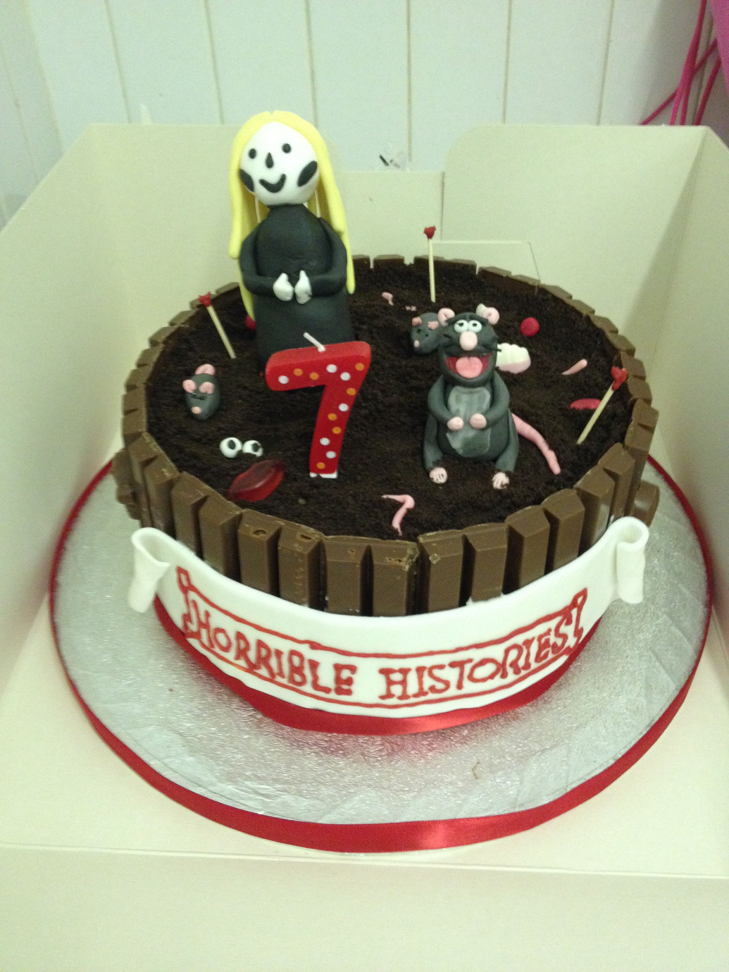 Horrible histories kit kat cake with popping candy