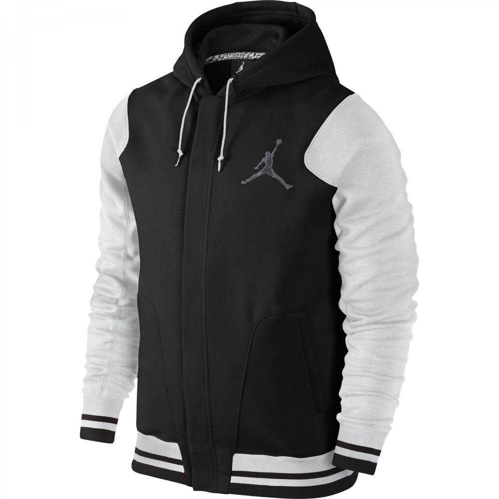 nike air jordan varsity hoodie jacket sz xl blk white cool. Black Bedroom Furniture Sets. Home Design Ideas