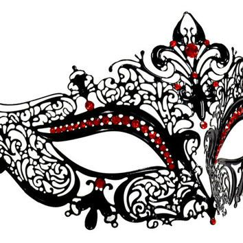 black space filigree masquerade mask with red rhinestones like rh pinterest ca