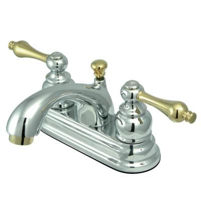 Kingston Brass Vintage 4 In Centerset 2 Handle Bathroom Faucet In Chrome And Polished Brass Hkb2604al Faucet Bathroom Faucets Kingston Brass