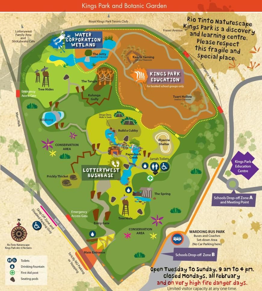Kings Park Map Map of Rio Tinto Naturescape Kings Park facilities | School  Kings Park Map