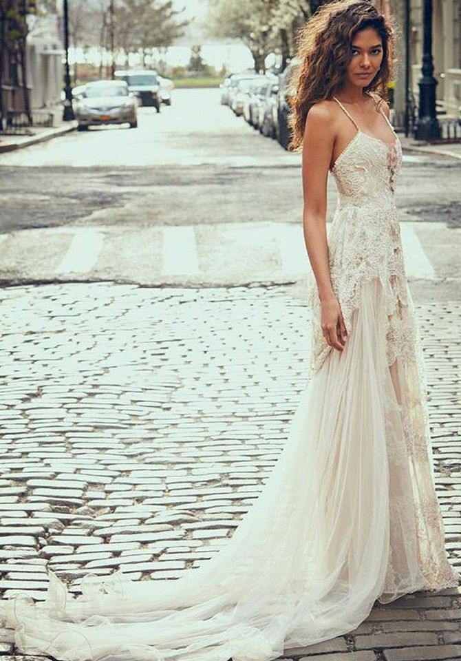 Boho Beach Wedding Dress With Lace Bohemian Beach Wedding Dress Pretty Wedding Dresses Wedding Dresses Lace