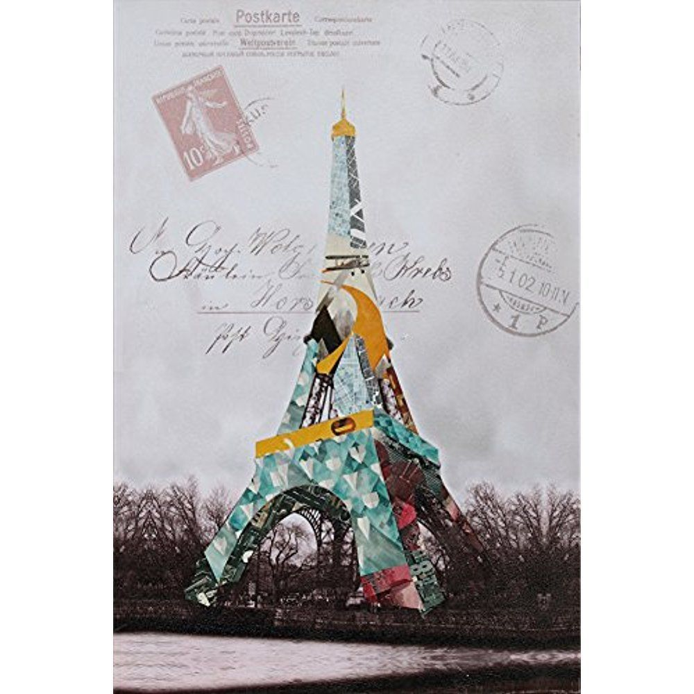 Framed] Abstract Eiffel Tower Modern Art Canvas Painting Prints Wall ...