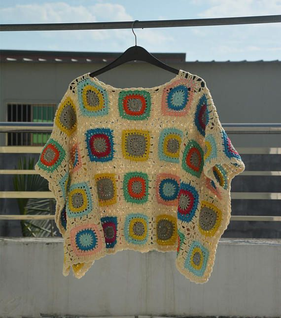 Granny Square Crochet Sweater Oversize Crop Top Women Boho Clothing