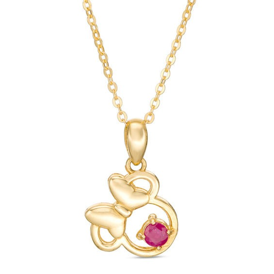 Zales Childs Disney Twinkle Princess Pink Sapphire Beaded Heart with Tiara Pendant in 14K Gold - 13 uyrNd