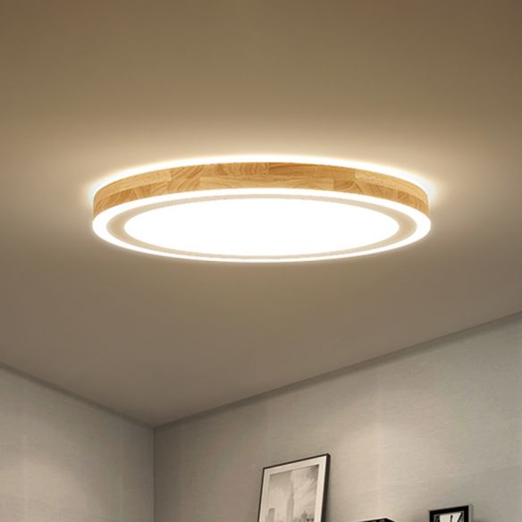 Super Thin Round Flush Lighting 12 Dia Nordic Style Natural Wood Led Ceiling Lamp Kit For Bedroom Flush Lighting Led Ceiling Lamp Ceiling Lights