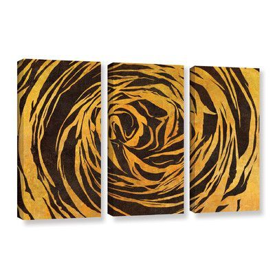 Latitude Run Buttercup Shape Contrast 3 Piece Graphic Art On Wrapped Canvas Set Canvas Framed Art Wrapped Canvas