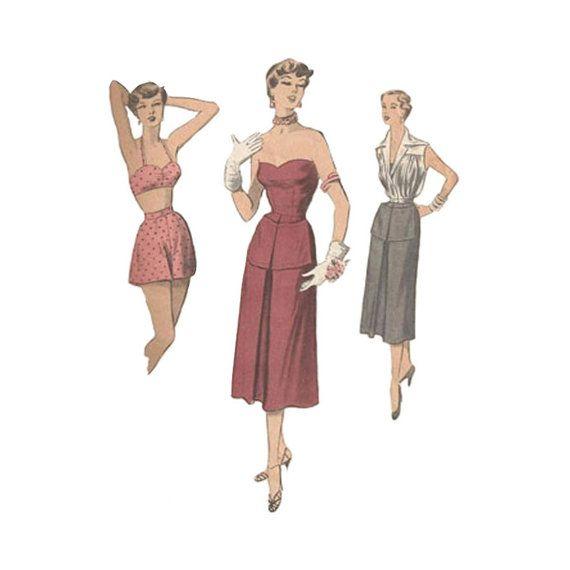 1950s strapless dress sewing pattern bust 32 advance 5559