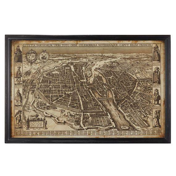 Antique Early Paris Framed Map Maps And Vintage: Framed Map Of Paris At Slyspyder.com