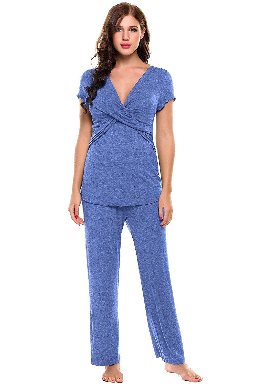 28788110de09b Ekouaer Womens Maternity Nursing Pajama Set Breastfeeding Pjs for Hospital  (Black, Gray, Blue, Wine Red, Floral) at Amazon Women's Clothing store:
