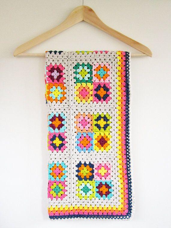 Colorful Granny Square Crochet Baby Blanket   Crochet   Pinterest ...
