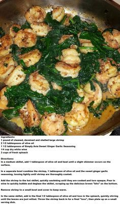 Shrimp and Sauteed Spinach (serves 2)  #thedivaskitchen