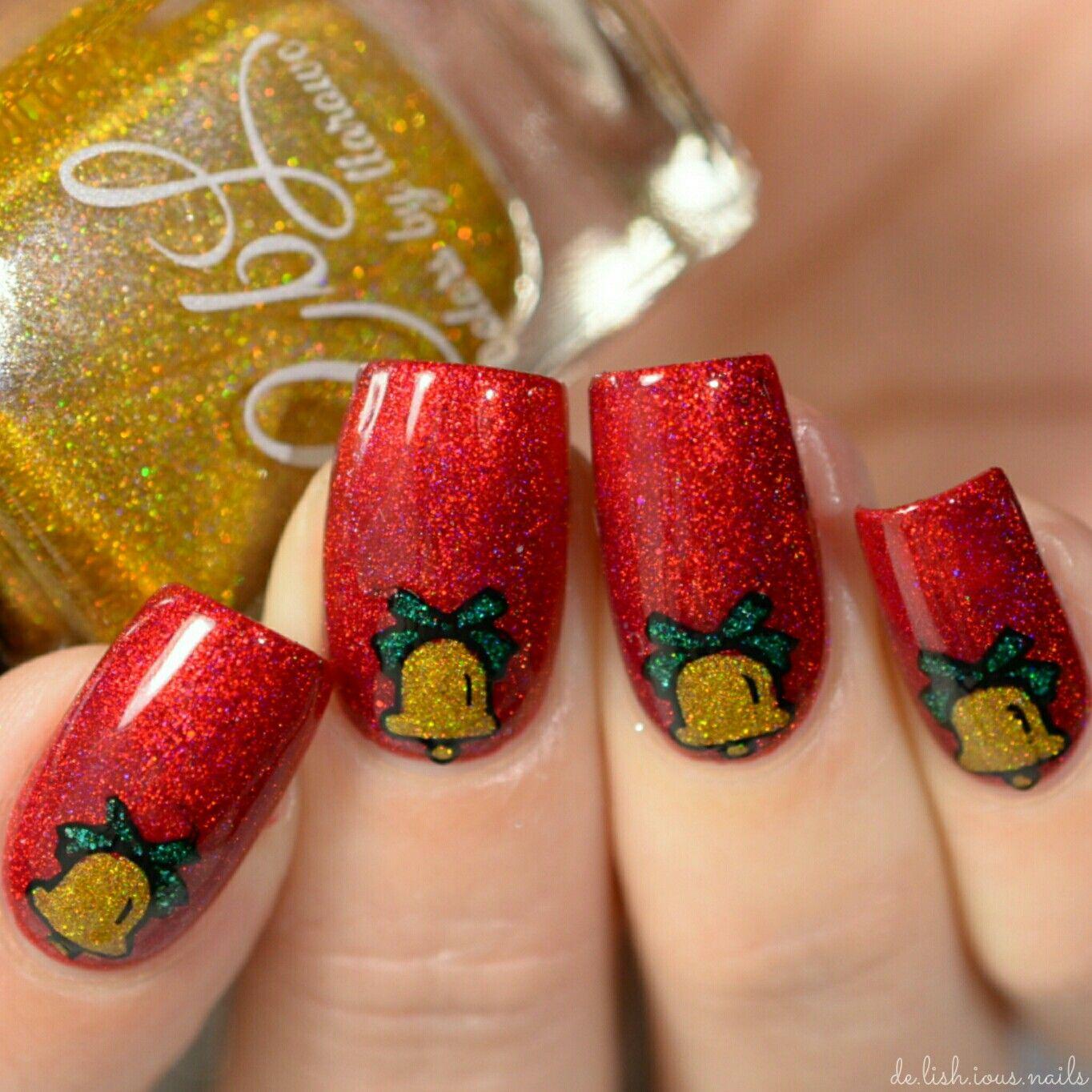 Christmas Bell nail art. Reverse stamping design using ...