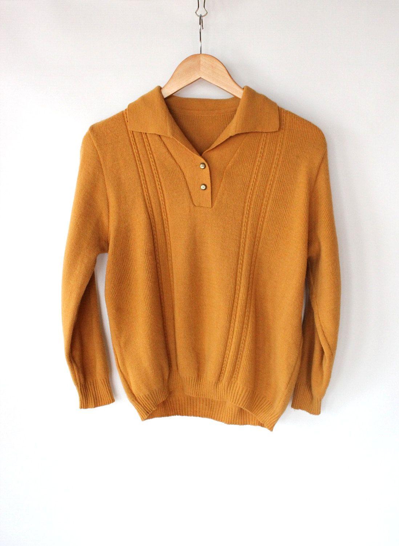 Vintage 60s Mustard Collared Henley Sweater // Unisex Spring ...