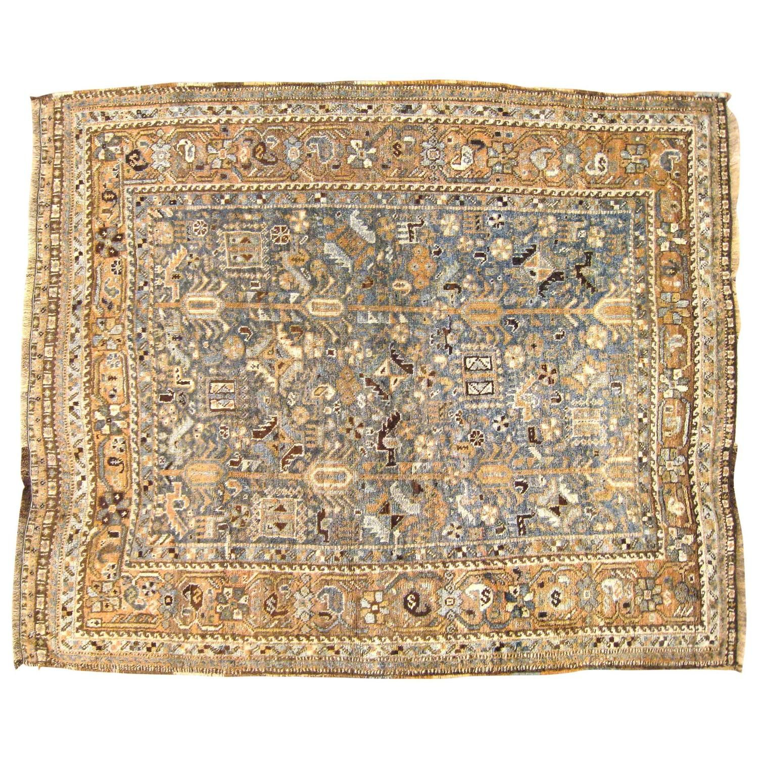 Vintage Persian Shiraz Oriental Rug In Small Square Size With Soft Earth Tones