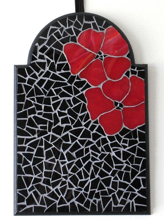 Gothic Wall Decor glass mosaic art, gothic home decor, red flower wall decor