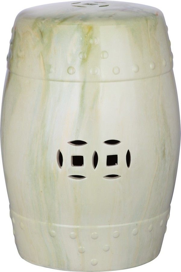 The Well Appointed House Green Swirl Indoor/Outdoor Ceramic Garden Stool
