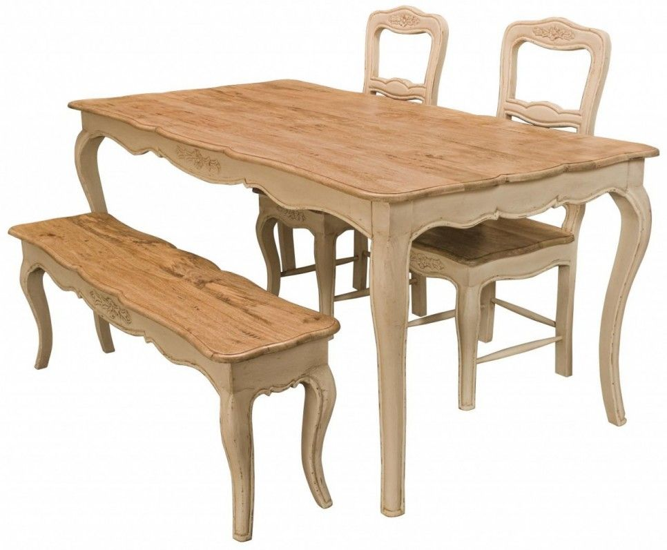Furniture French Style Antique Farmhouse Kitchen Table With 2 Chairs And Bench Seat Oak