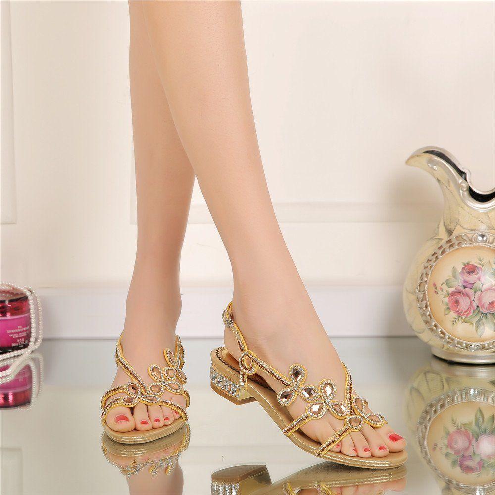 Amazon.com | Unicrystal Women's Low Block Heel Diamante Jewelled Slingback Sandals  Shoes Black 4 M US | Heeled Sandals