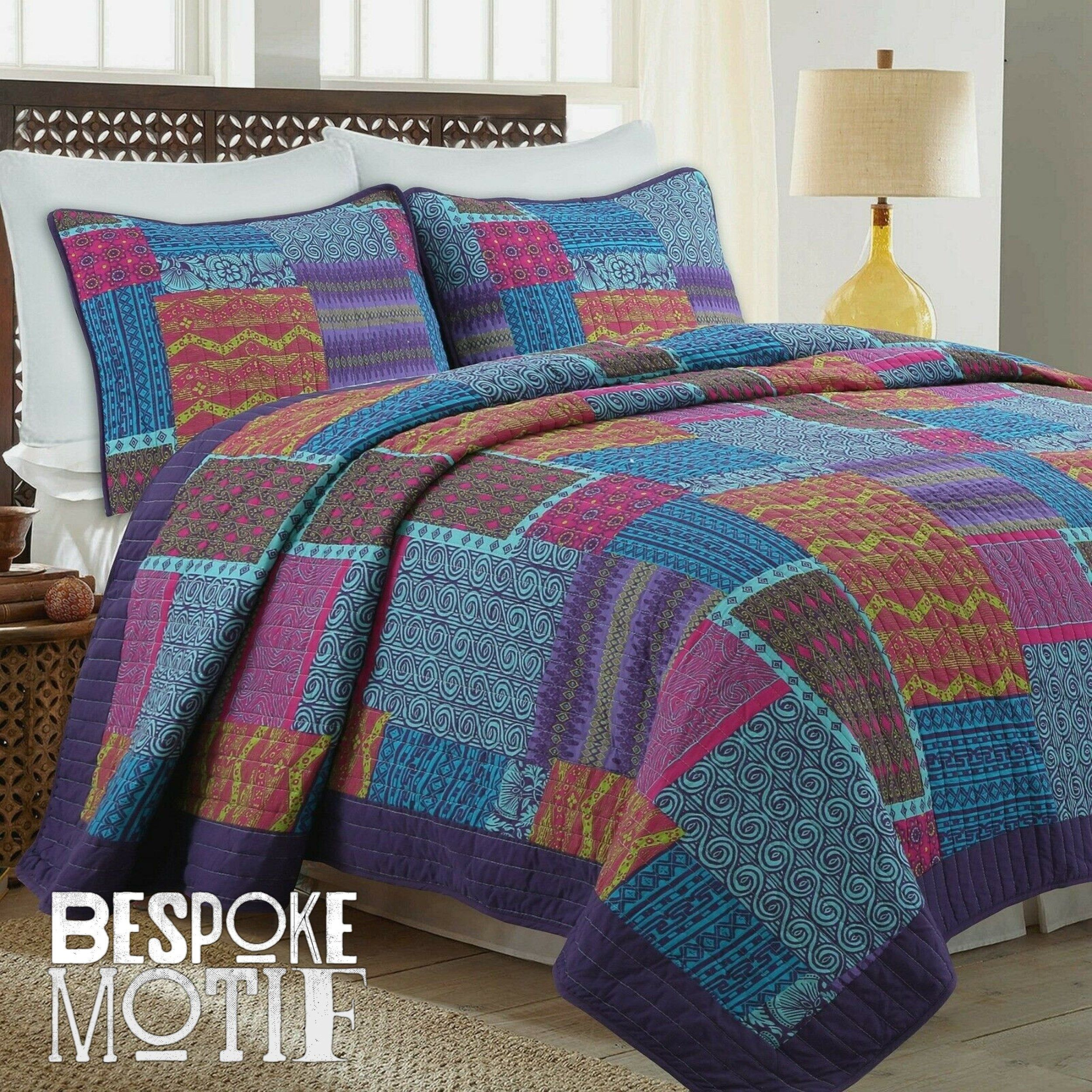 Hand Made Lavender King Size Quilt Purple Patchwork Quilt Set With Pillows Farmhouse Quilted Blanket Rag Quilt Quilt Bedding Set In 2020 Quilt Sets Blue Quilt Sets Bedding Quilt Sets