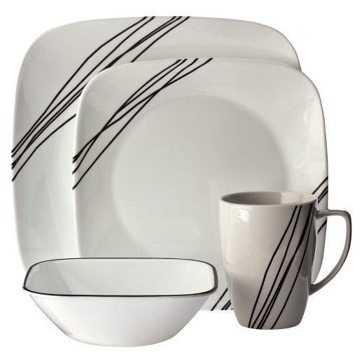 Corelle Dinnerware Set - Sketch - I really love the simplicity of this. And I\u0027ll need some new dishes soon. Mine have started to break.  sc 1 st  Pinterest & Corelle Square 16pc Dinnerware Set Simple Sketch White - Dnu ...