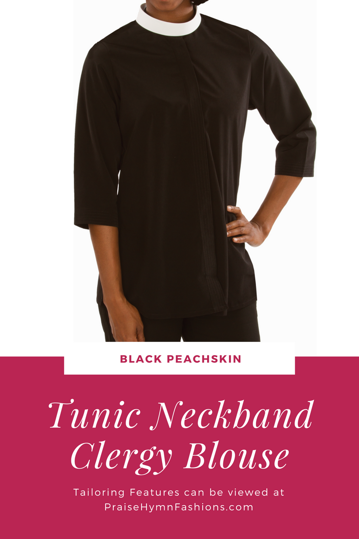 Black Tunic Neckband Blouse Sw 113 Tailored In Black Peachskin