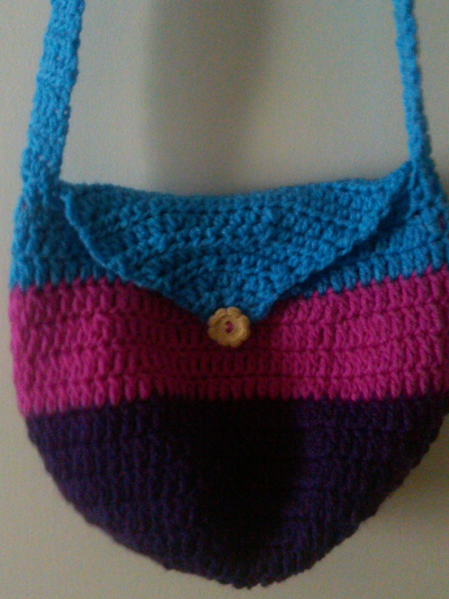 Crochet Purse With 3 Colors And Long Strap Purseswithlongstraps