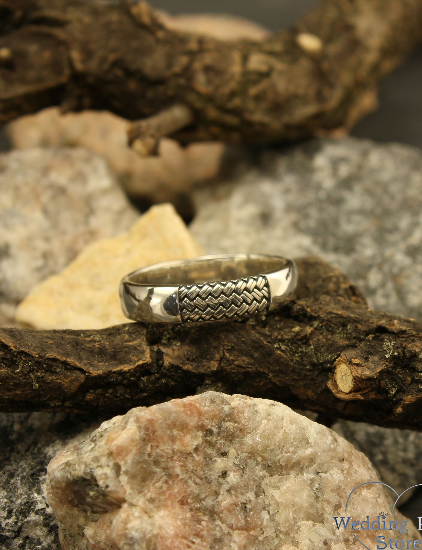 Simple and knit wedding band, Braided sterling silver ring