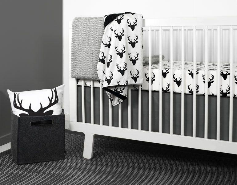 Modern Crib Bedding Modern Gray Triangle Nursery Bedding Deer